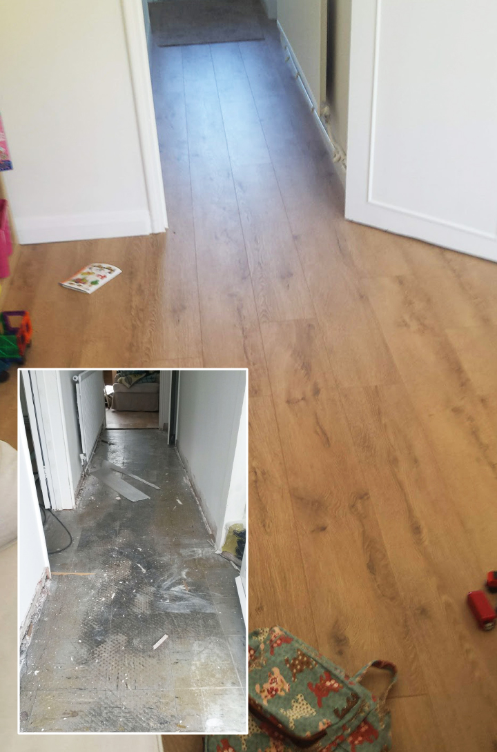 Laying laminate floor and skirtings